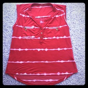 Tops - Red & white sleeveless top